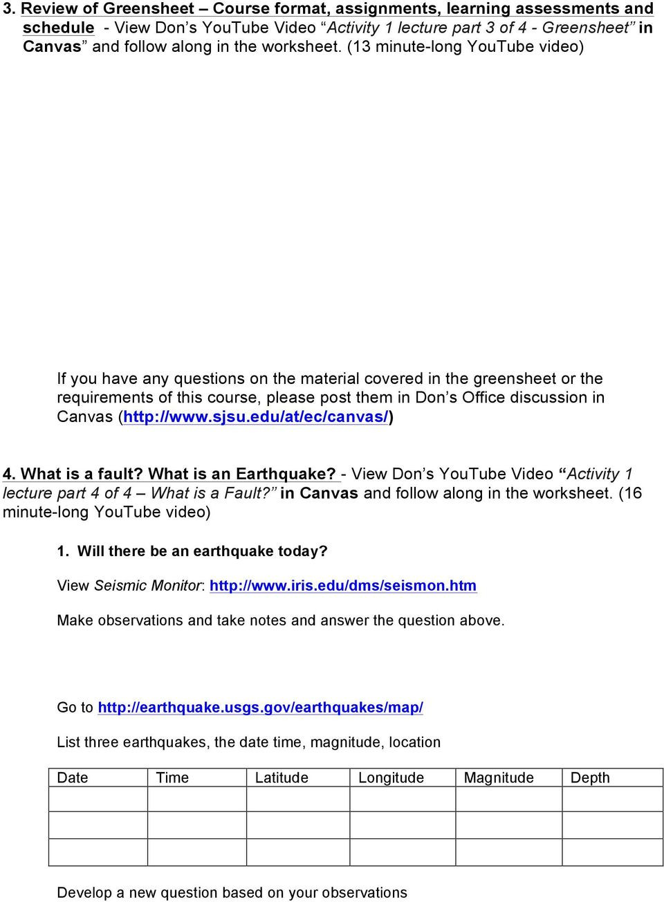 Earthquake Worksheets Middle School Geology 112 Earthquakes Activity 1 Worksheet Introduction