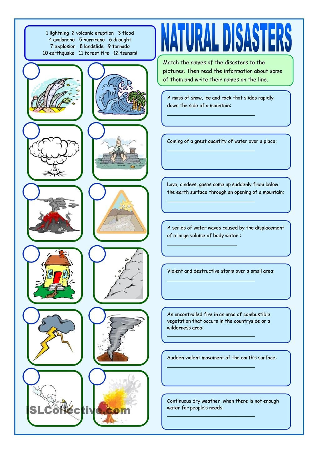 Earthquake Worksheets Middle School Natural Disasters Matching Exercises