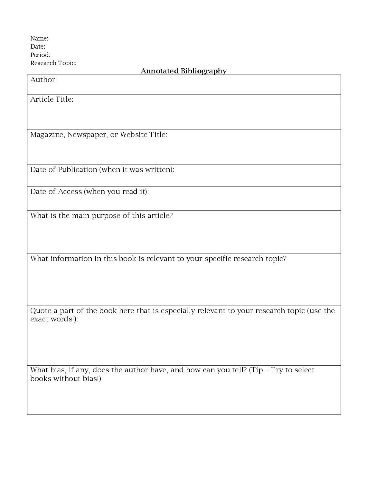 Editing Worksheet Middle School Annotated Bibliography Worksheet