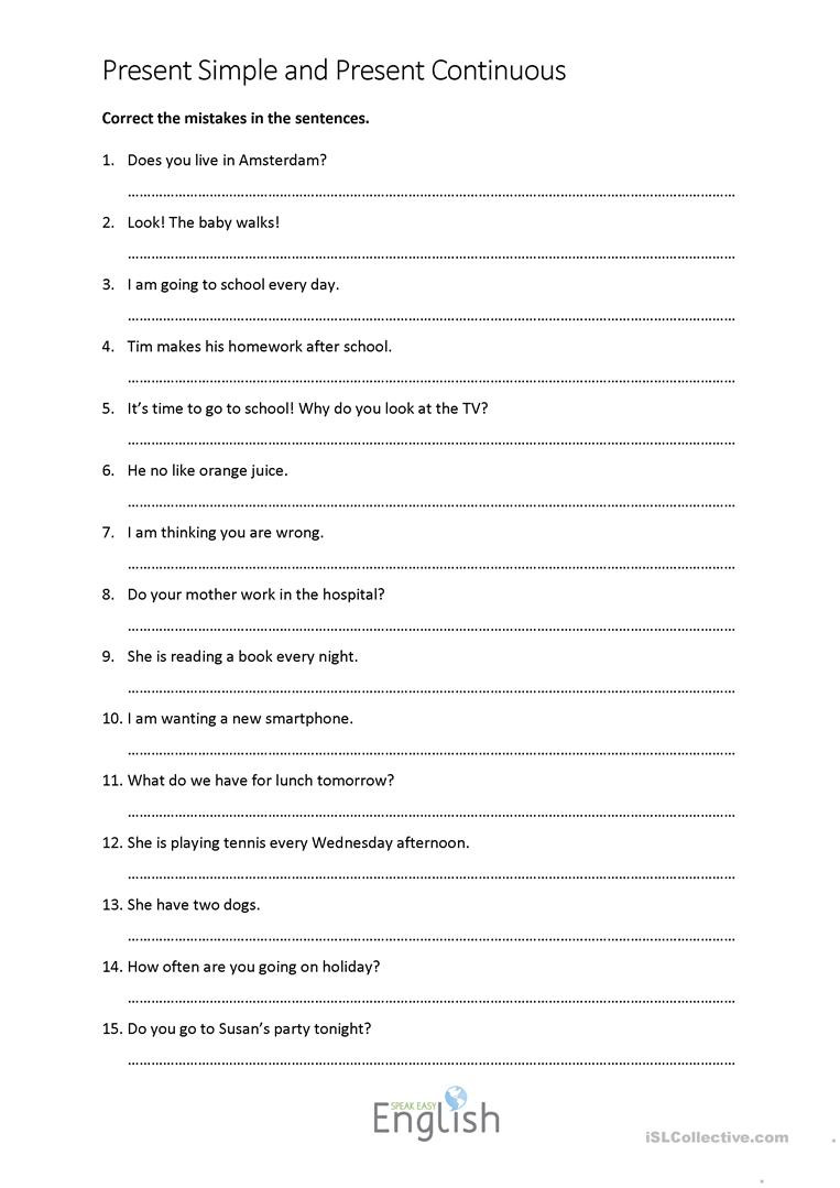 Editing Worksheets High School Present Simple Continuous Error Correction with Answers