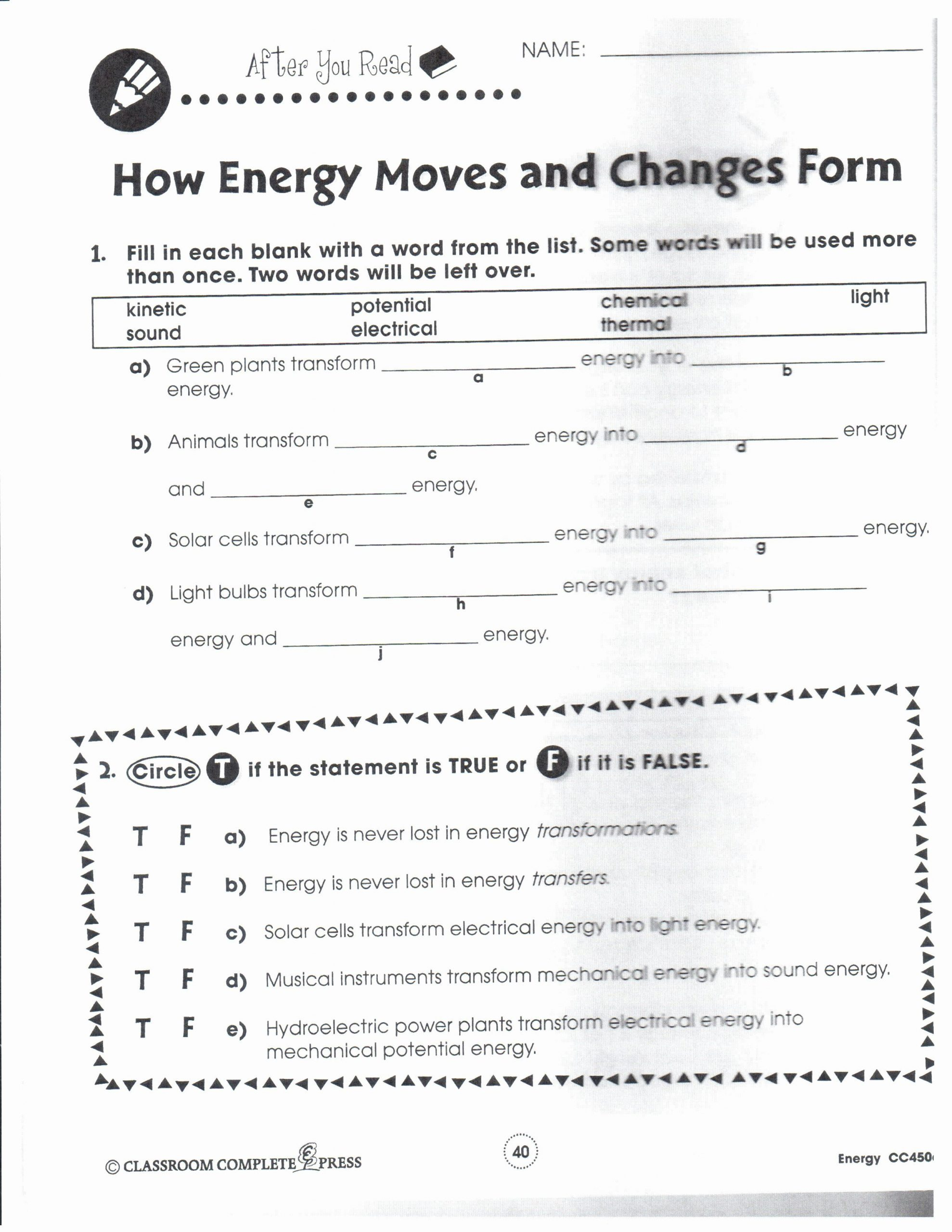 Energy Worksheets for 3rd Grade forms Energy Worksheet Answers Inspirational 16 Best