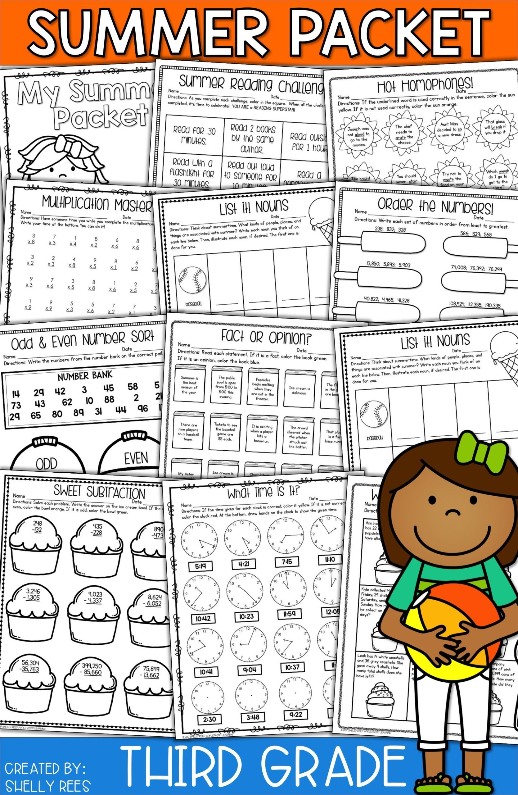 Energy Worksheets for 3rd Grade Summer Packet for Third Going to Fourth Grade Math with Fun