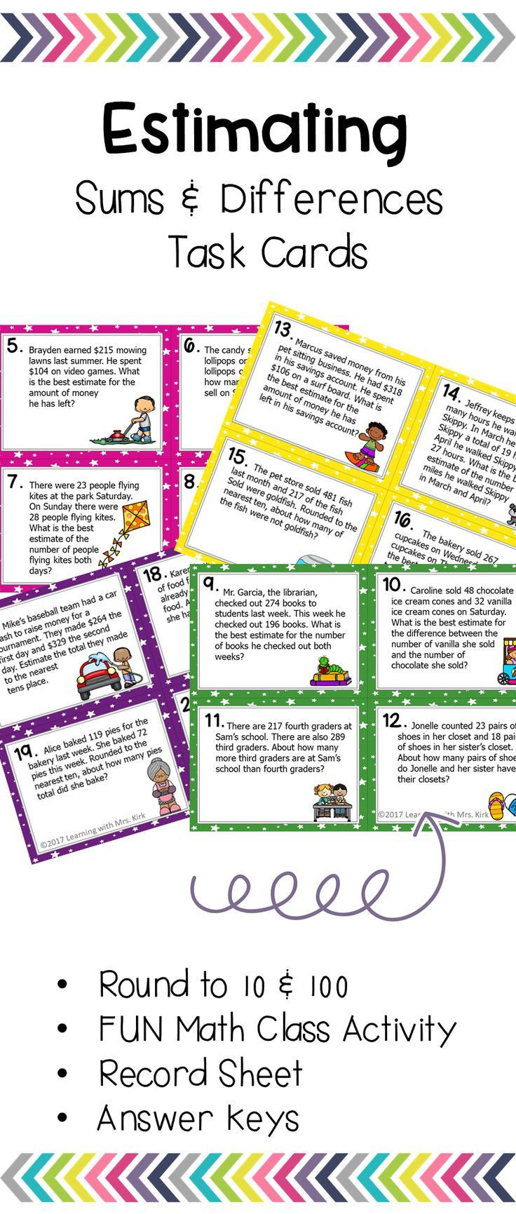 Estimating Word Problems 3rd Grade Estimating Sums and Differences Task Cards Word Problems