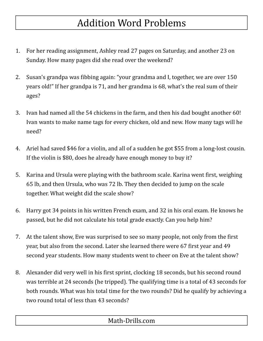 Estimating Word Problems 3rd Grade Single Step Addition Word Problems Using Two Digit Numbers A