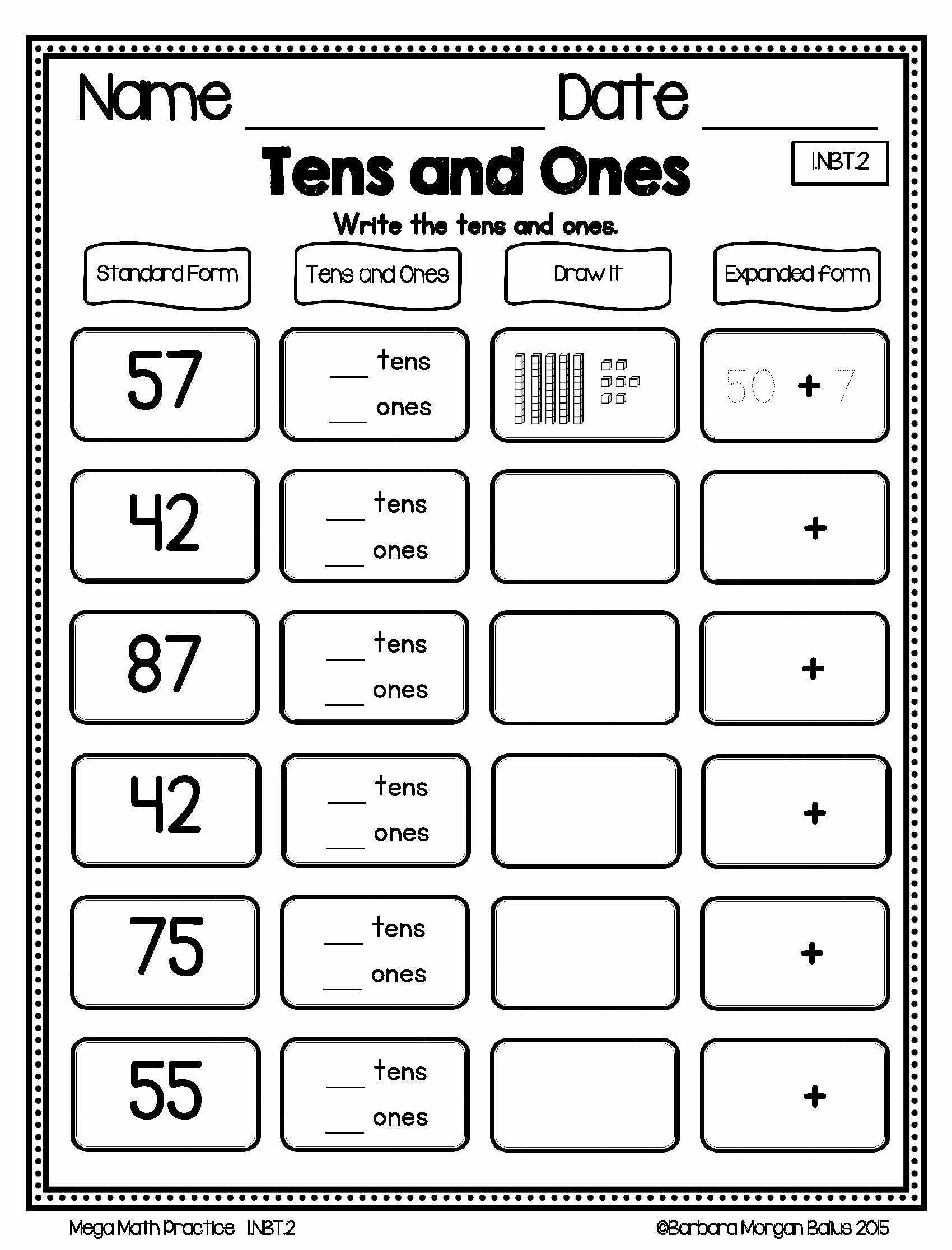 Expanded form Worksheets 1st Grade Freebie Preview First Grade Mega Math Practice Young