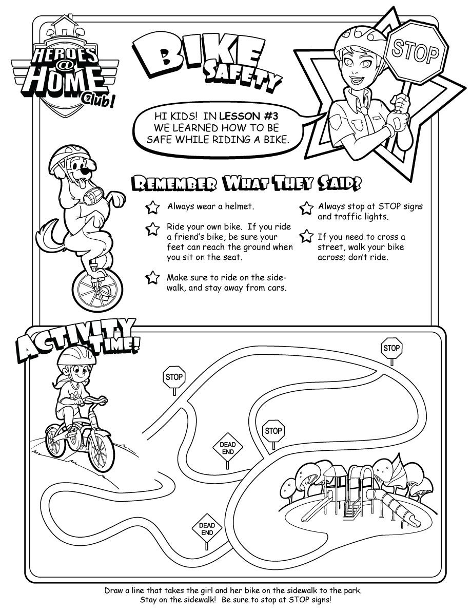 Fire Safety Worksheets Preschool Bike Safety Activity Sheet Bicycle Summer for Kids