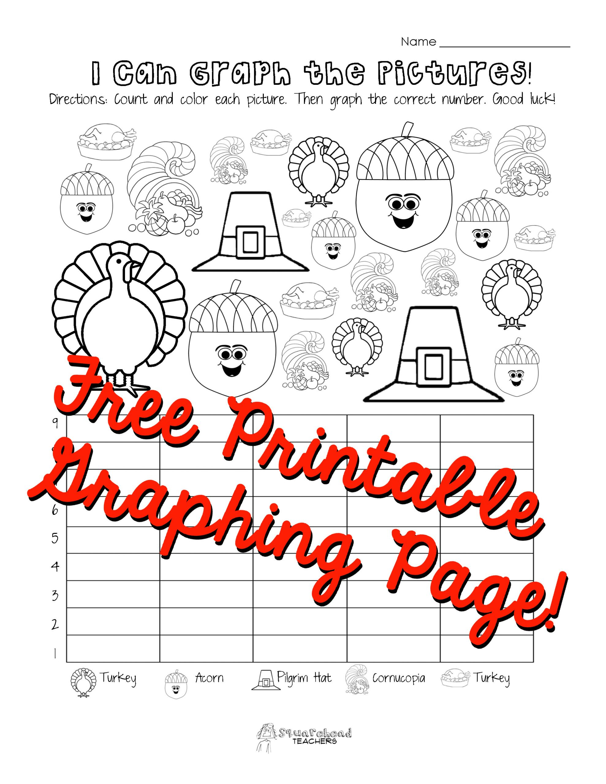 First Grade Graphing Worksheets Thanksgiving Graphing Page Kindergarten First Grade