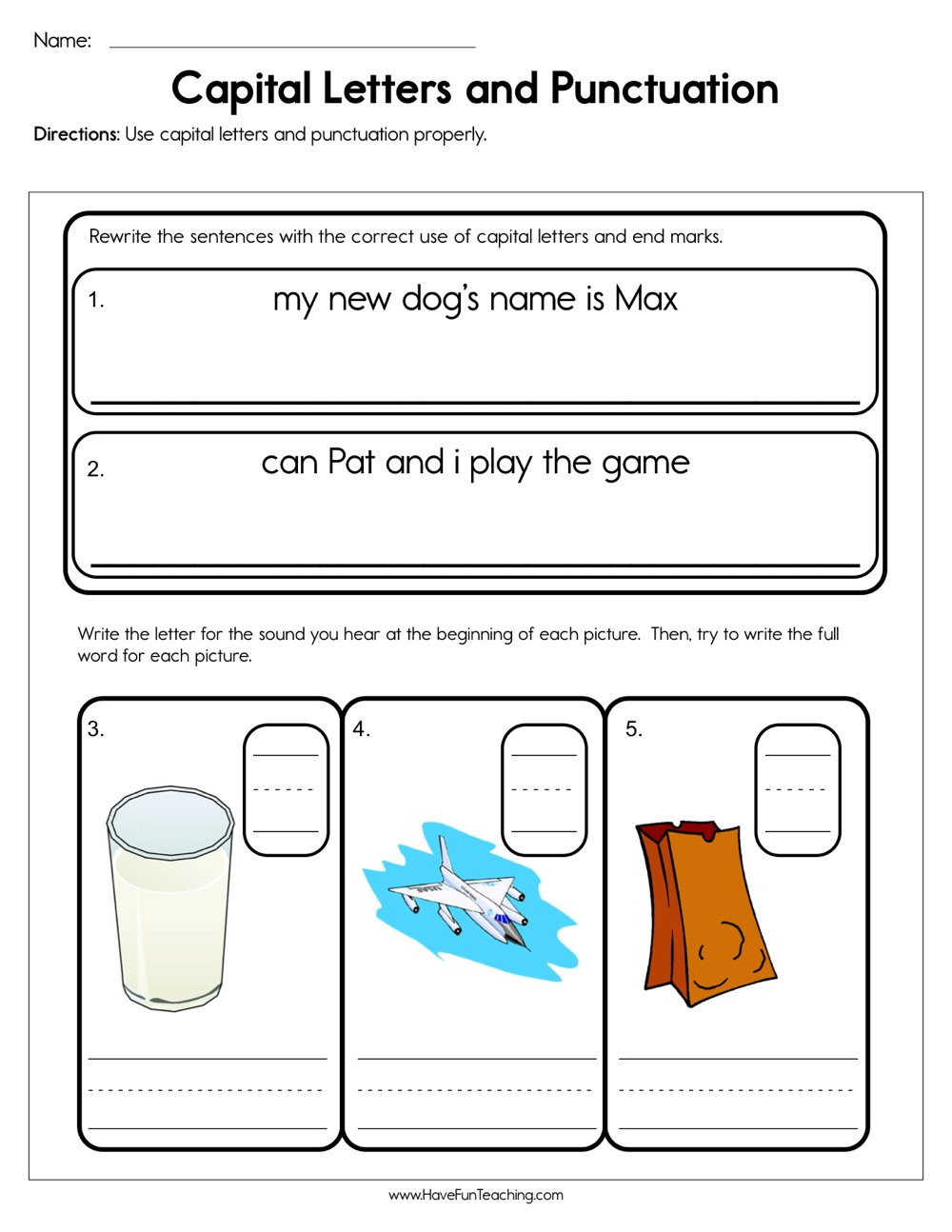 First Grade Punctuation Worksheets Capital Letters and Punctuation Worksheet