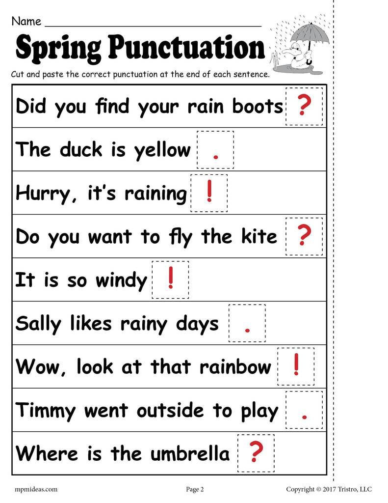 First Grade Punctuation Worksheets Printable Spring Punctuation Worksheet