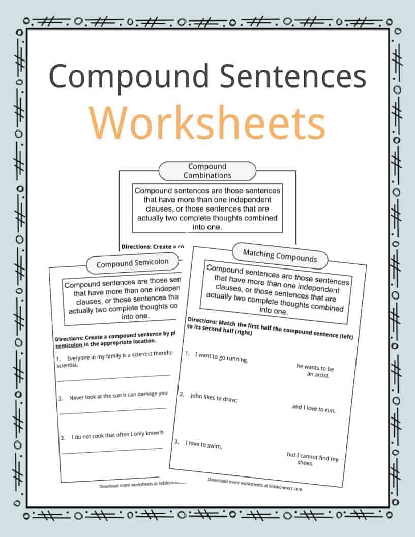 First Grade Sentence Writing Worksheets Pound Sentences Worksheets Examples & Definition for Kids