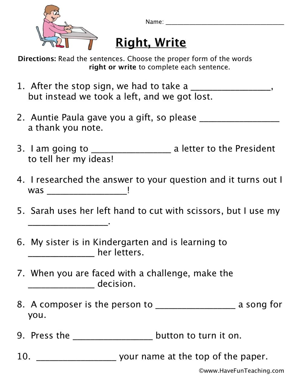 First Grade Sentence Writing Worksheets Right Write Homophones Worksheet
