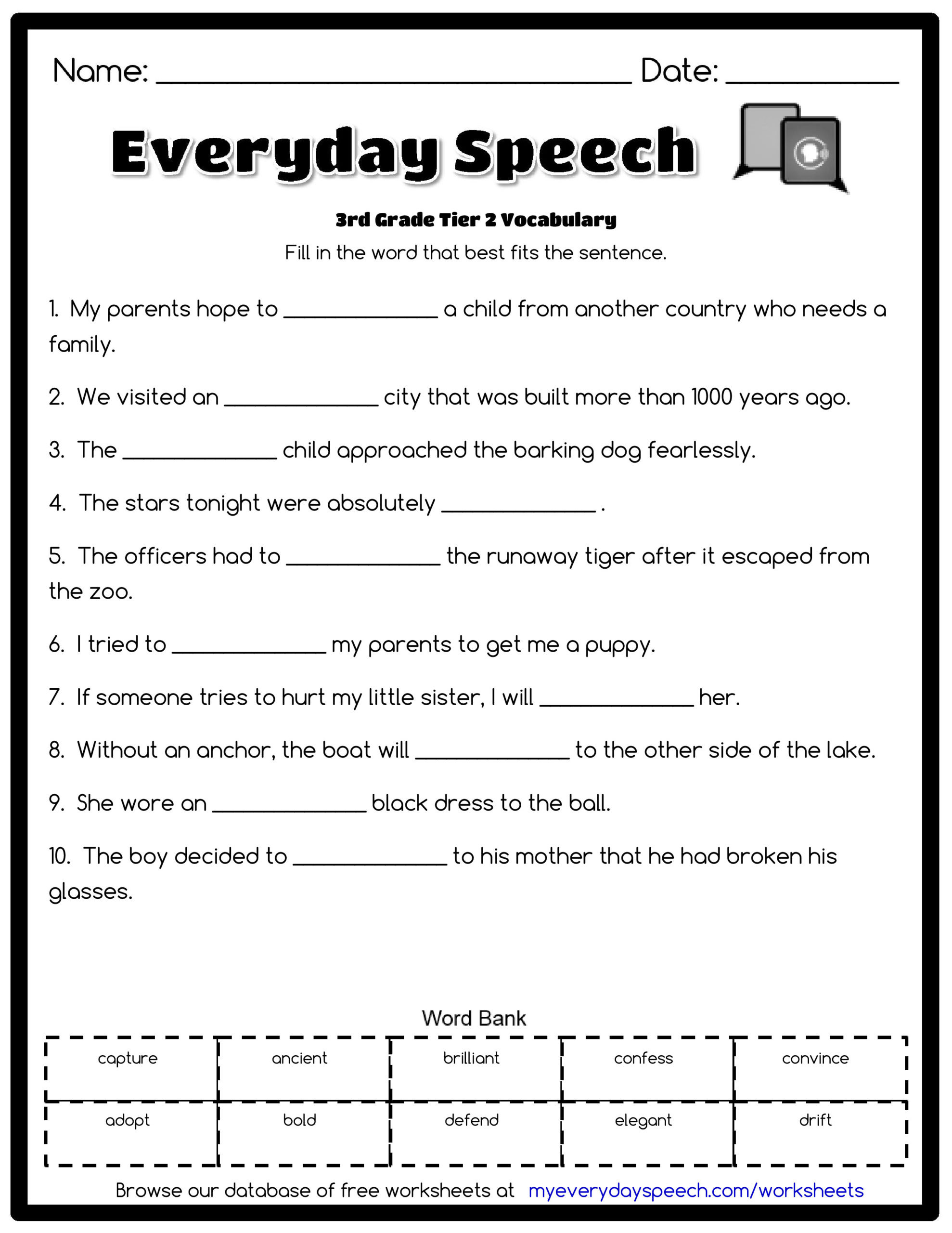 First Grade Vocabulary Worksheets 3rd Grade Vocabulary Worksheets for Free Third Math Goo S