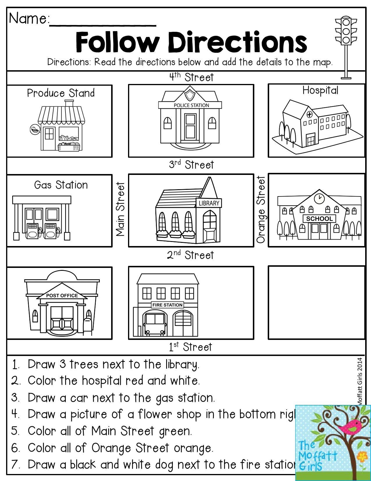 Following Directions Printables Back to School Packets