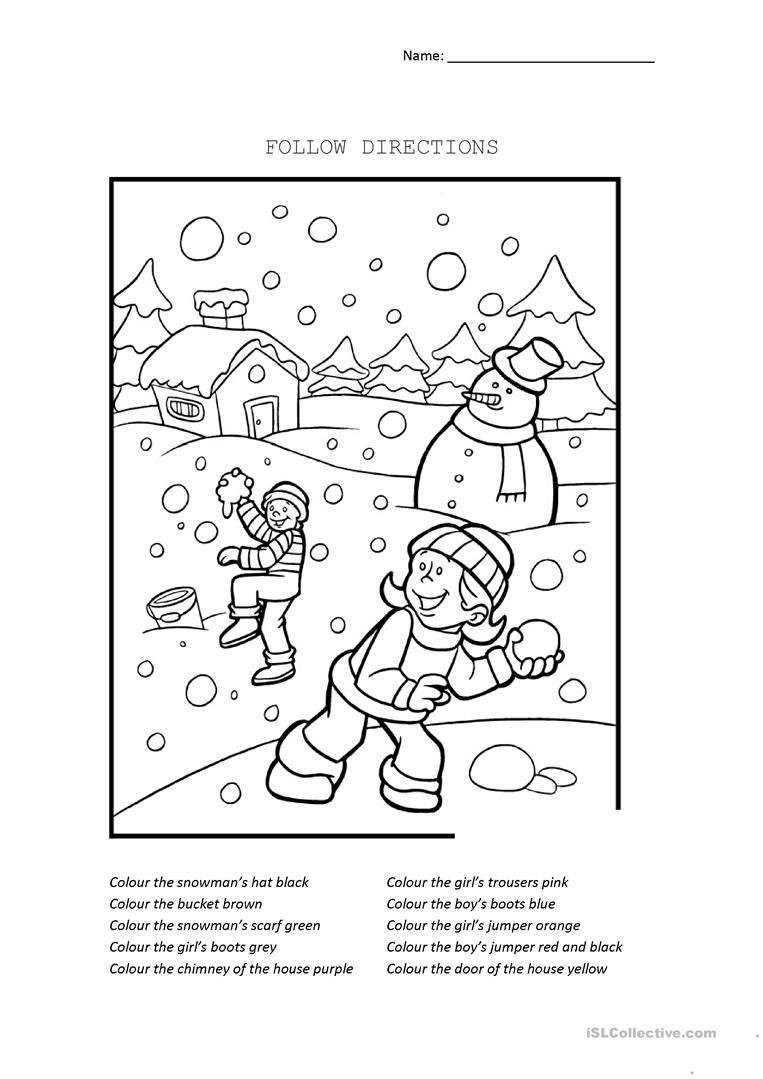 Following Directions Printables Follow Directions English Esl Worksheets for Distance