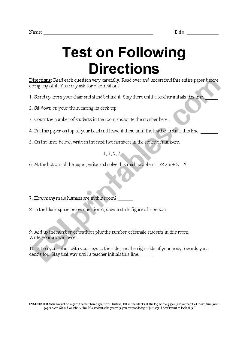 Following Directions Printables Following Directions Test Esl Worksheet by Amyroller