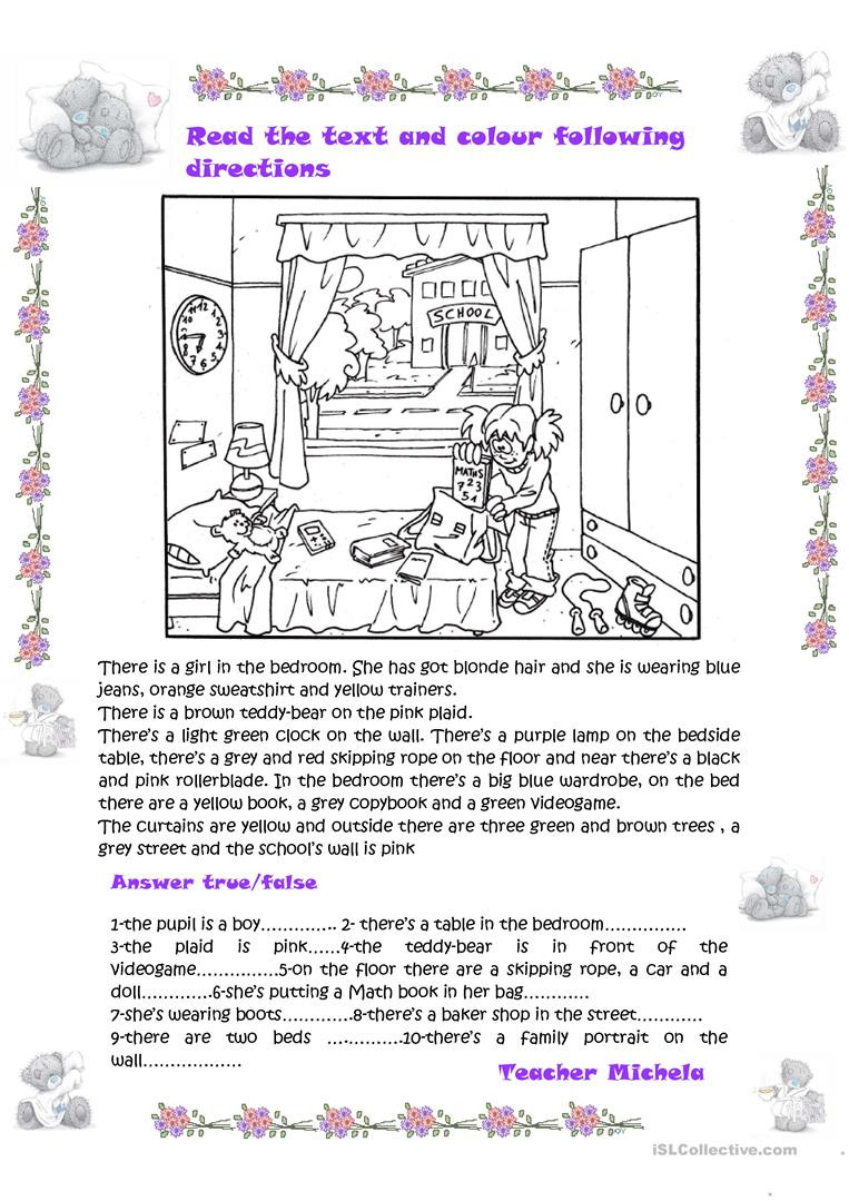 Following Directions Printables Read the Text and Colour Following Directions True False