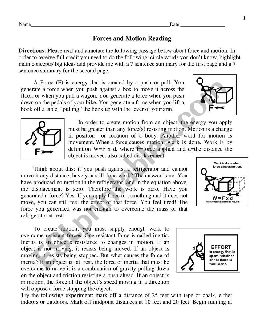 Force and Motion Printable Worksheets force and Motion Esl Worksheet by Tesm
