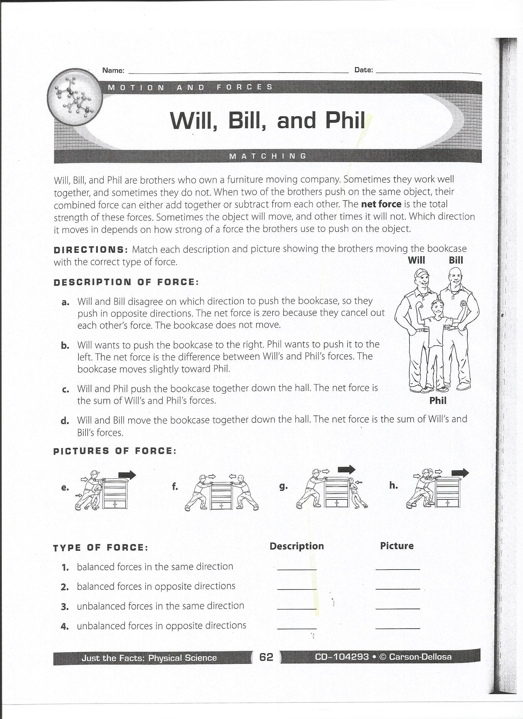 Force and Motion Printable Worksheets Qualified force and Motion Worksheets