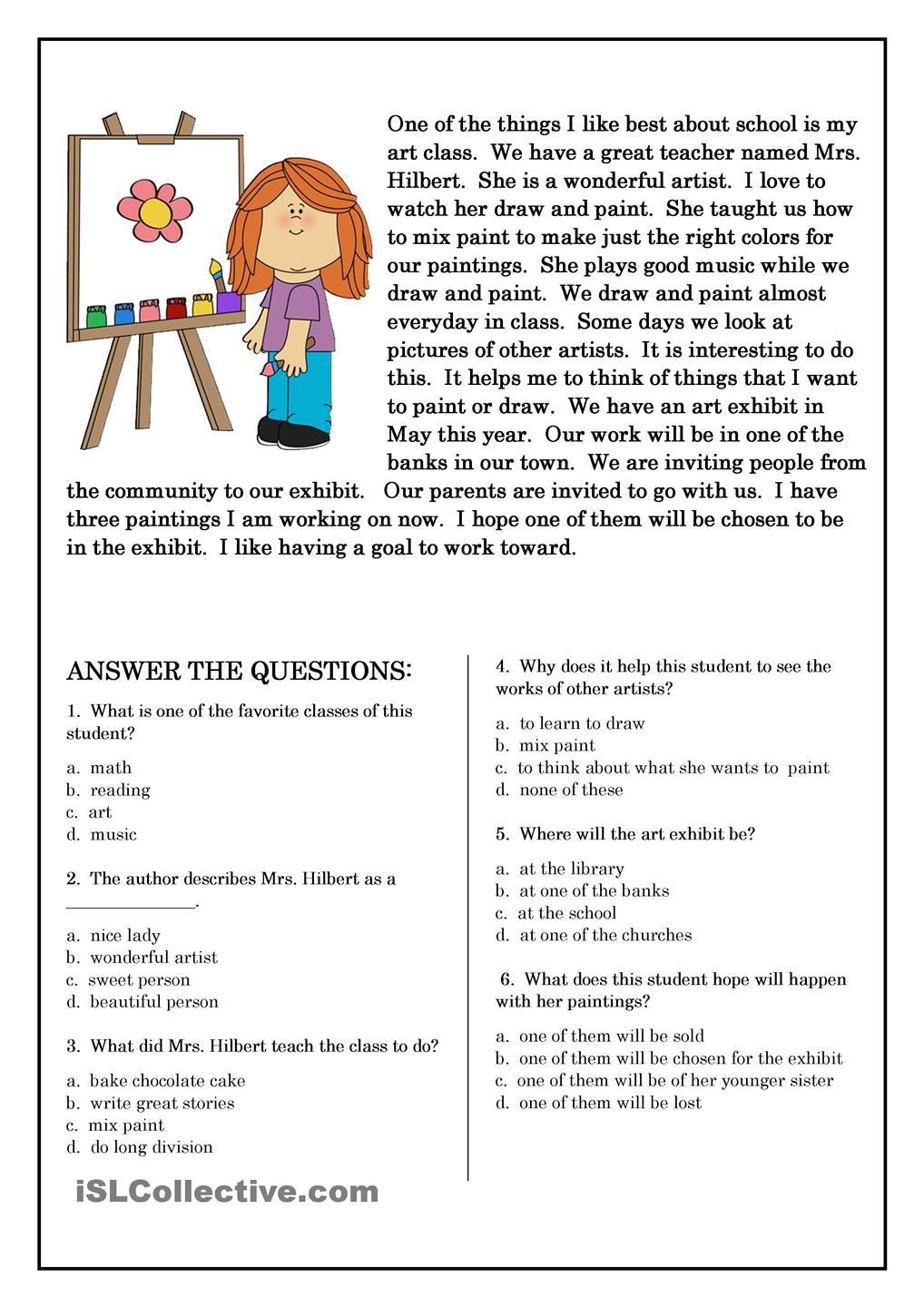 Free 7th Grade Reading Worksheets Primaryleap Reading Prehension My Baby Brother