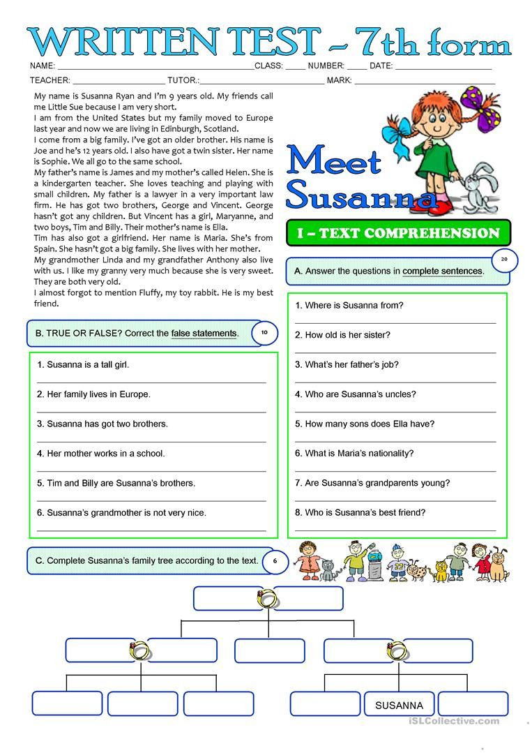 Free 7th Grade Reading Worksheets Susanna S Family 3 Page Test 7th Grade