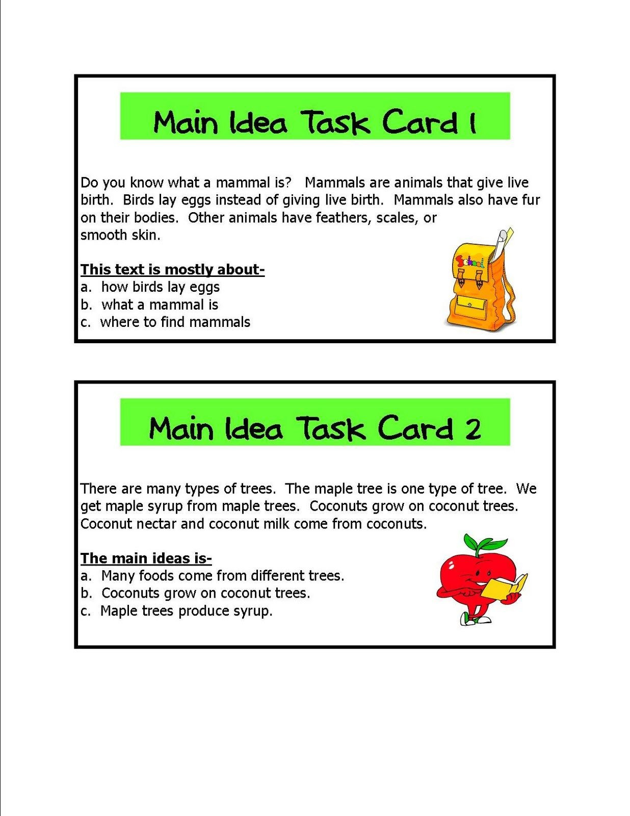 Free Printable Main Idea Worksheets Finding the Main Idea Worksheets
