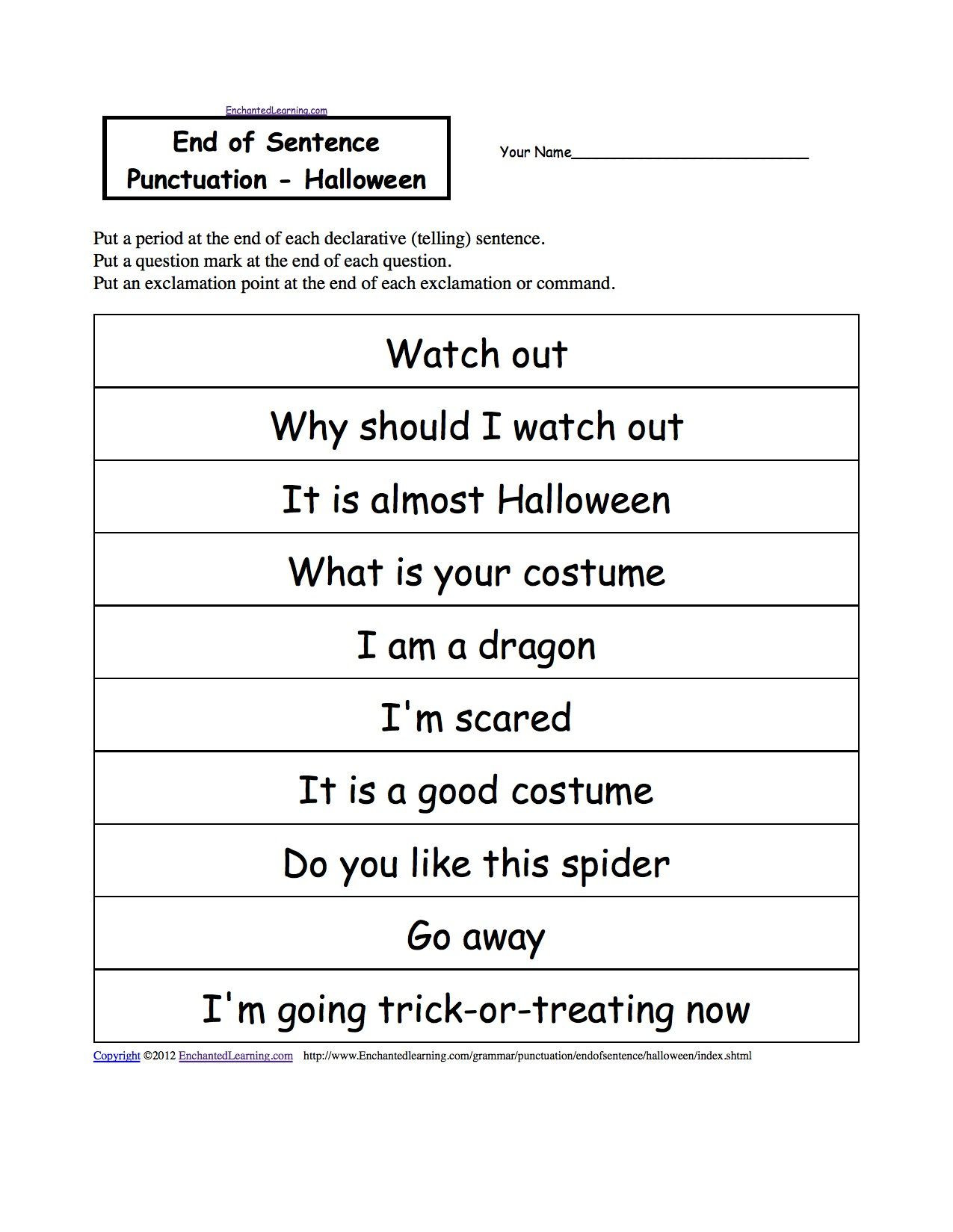 Free Printable Punctuation Worksheets Image by Tannille Campbell On Types Of Sentences In 2020