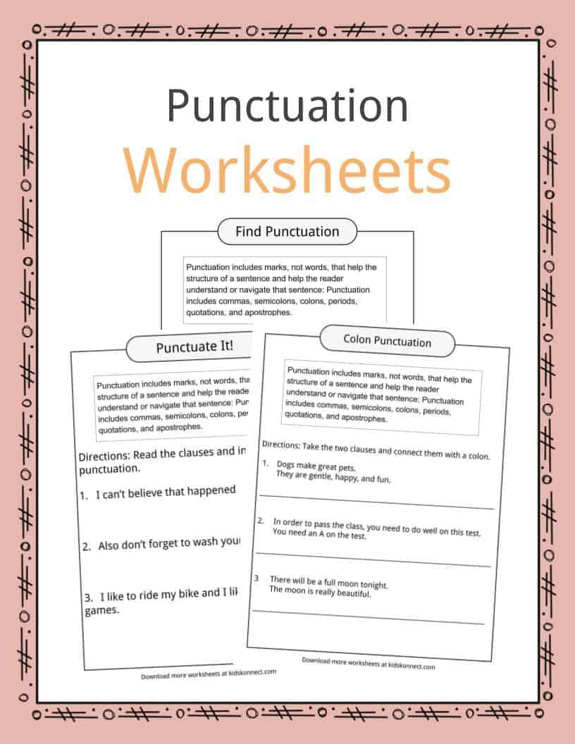 Free Printable Punctuation Worksheets Punctuation Examples Worksheets & Description for Kids