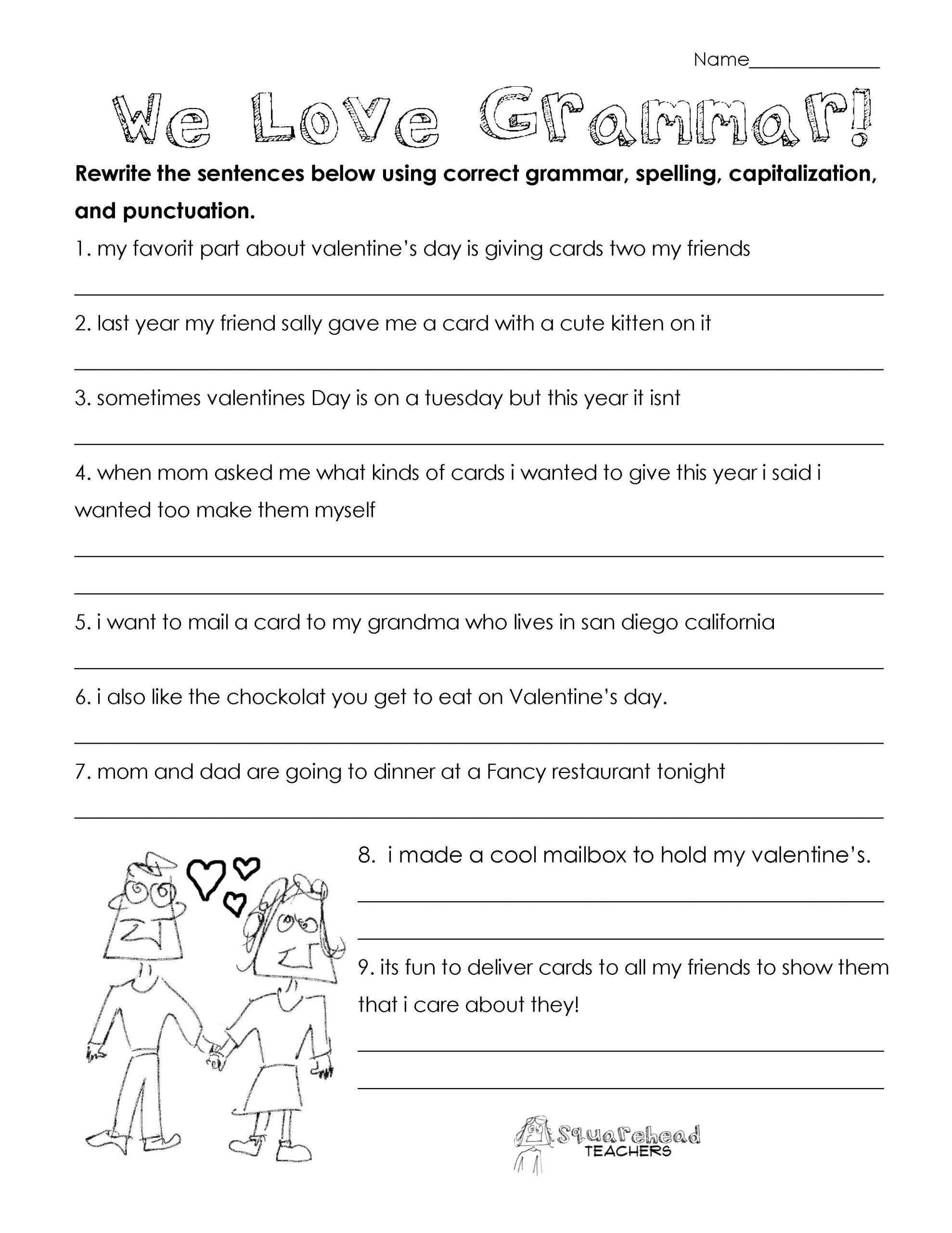 Free Printable Punctuation Worksheets Valentine S Day Grammar Free Worksheet for 3rd Grade and Up