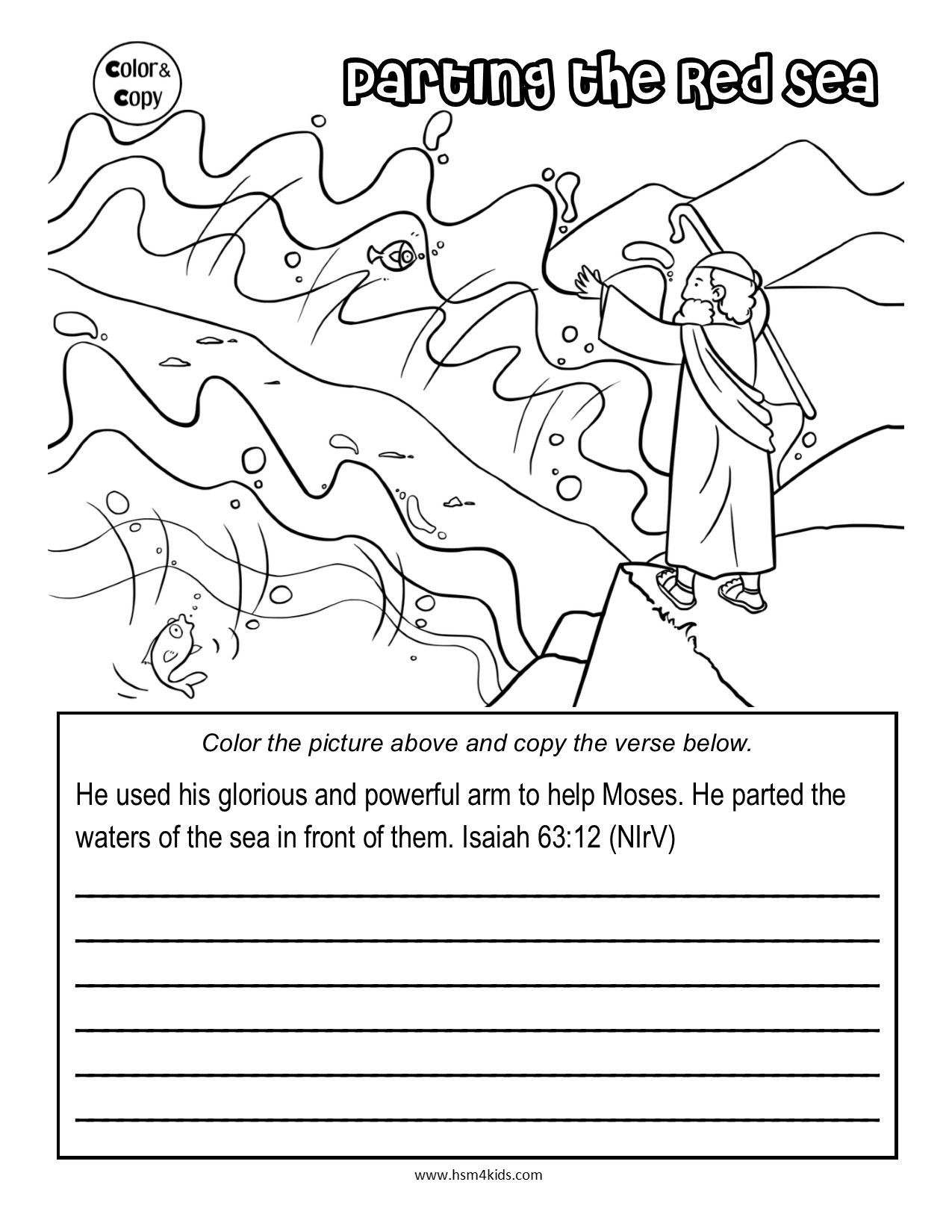 Free Printable Religious Worksheets Free Color and Copy Bible Worksheet Moses and the Red Sea