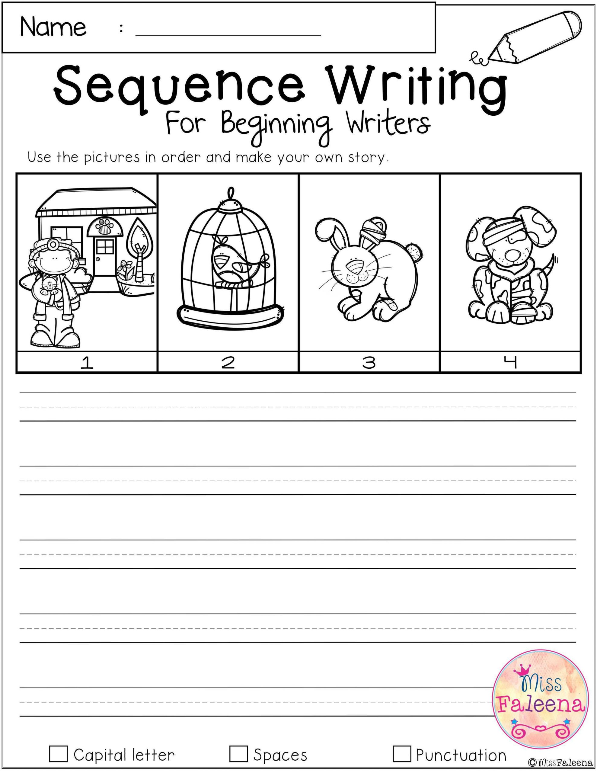 Free Printable Story Sequencing Worksheets Free Sequence Writing for Beginning Writers