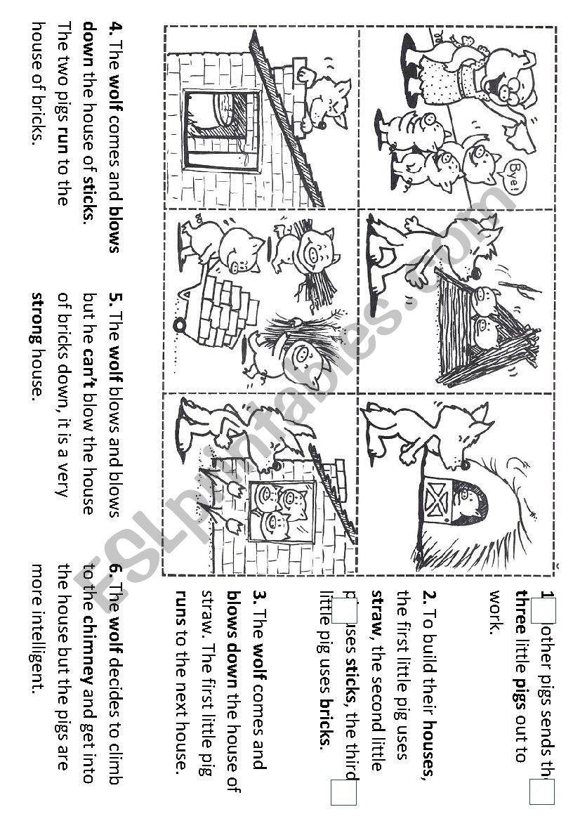 Free Printable Story Sequencing Worksheets Sequencing the Story Of the Three Little Pigs Esl