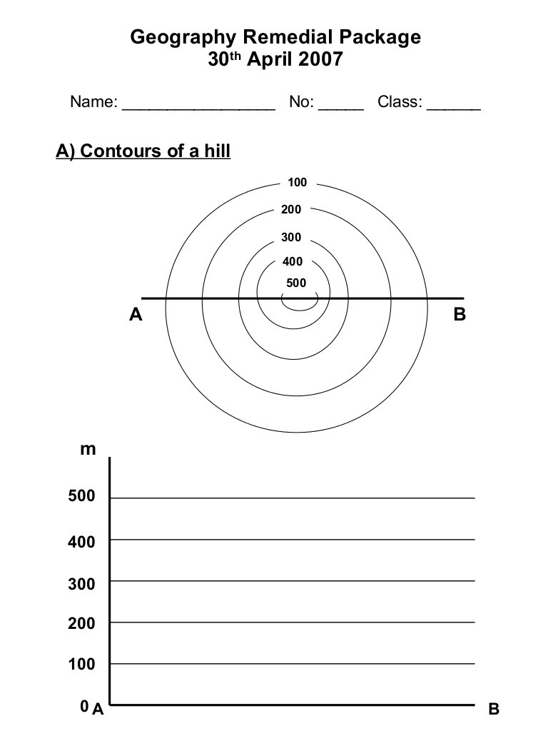 Geography Worksheets Middle School Pdf Draw Contours Worksheet