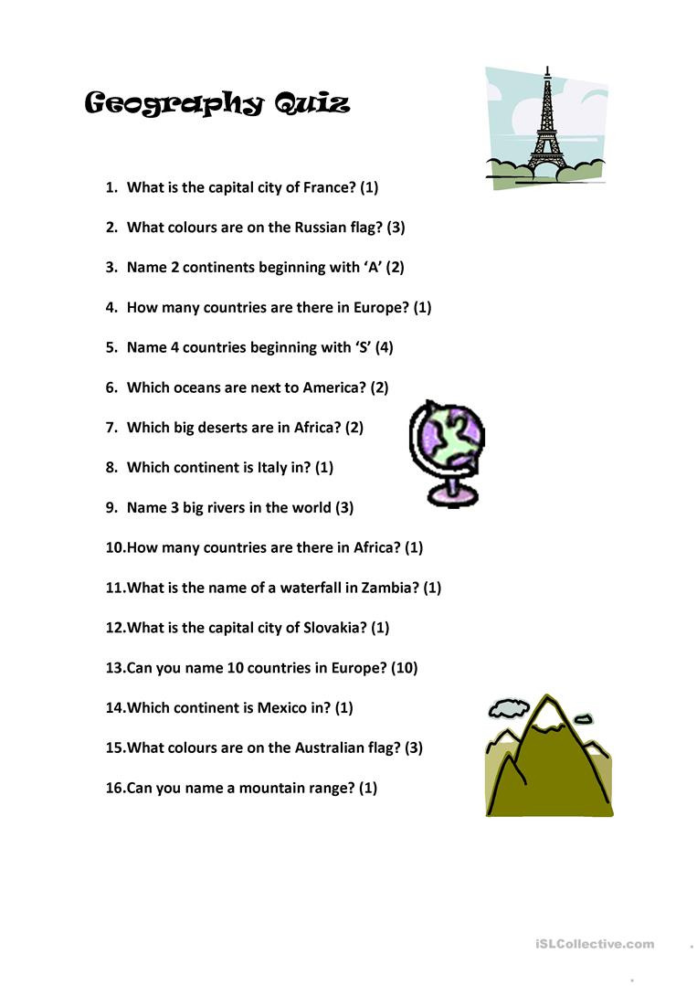 Geography Worksheets Middle School Pdf English Esl Geography Worksheets Most Ed 60 Results