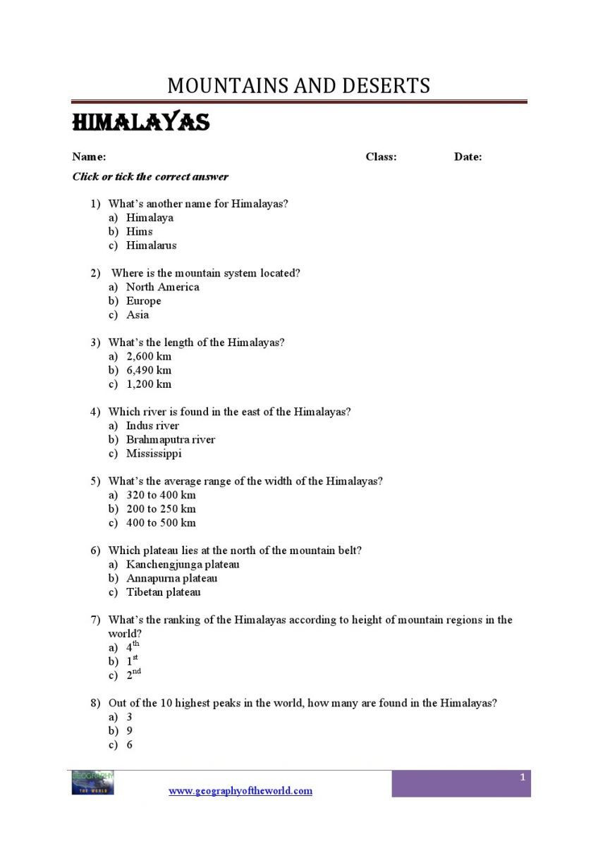 Geography Worksheets Middle School Pdf World Mountains Geograhy Worksheets for Students