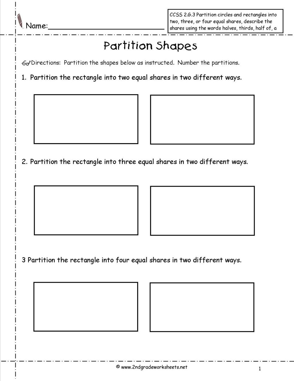Geometry Worksheet 2nd Grade Worksheet 2nd Grade Geometry Worksheets Ccss G Partition