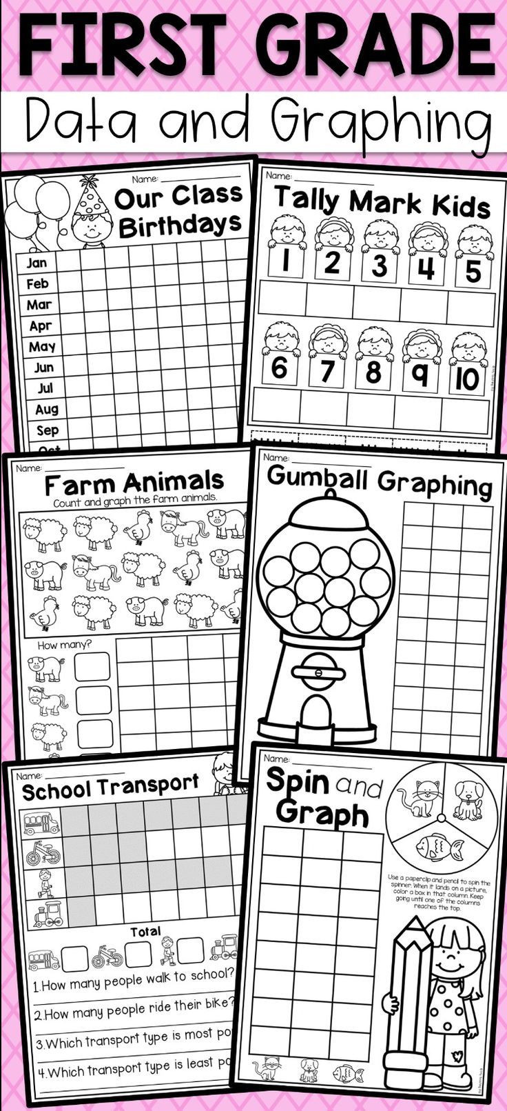 Graphing Worksheets for First Grade First Grade Data and Graphing Worksheets Distance Learning