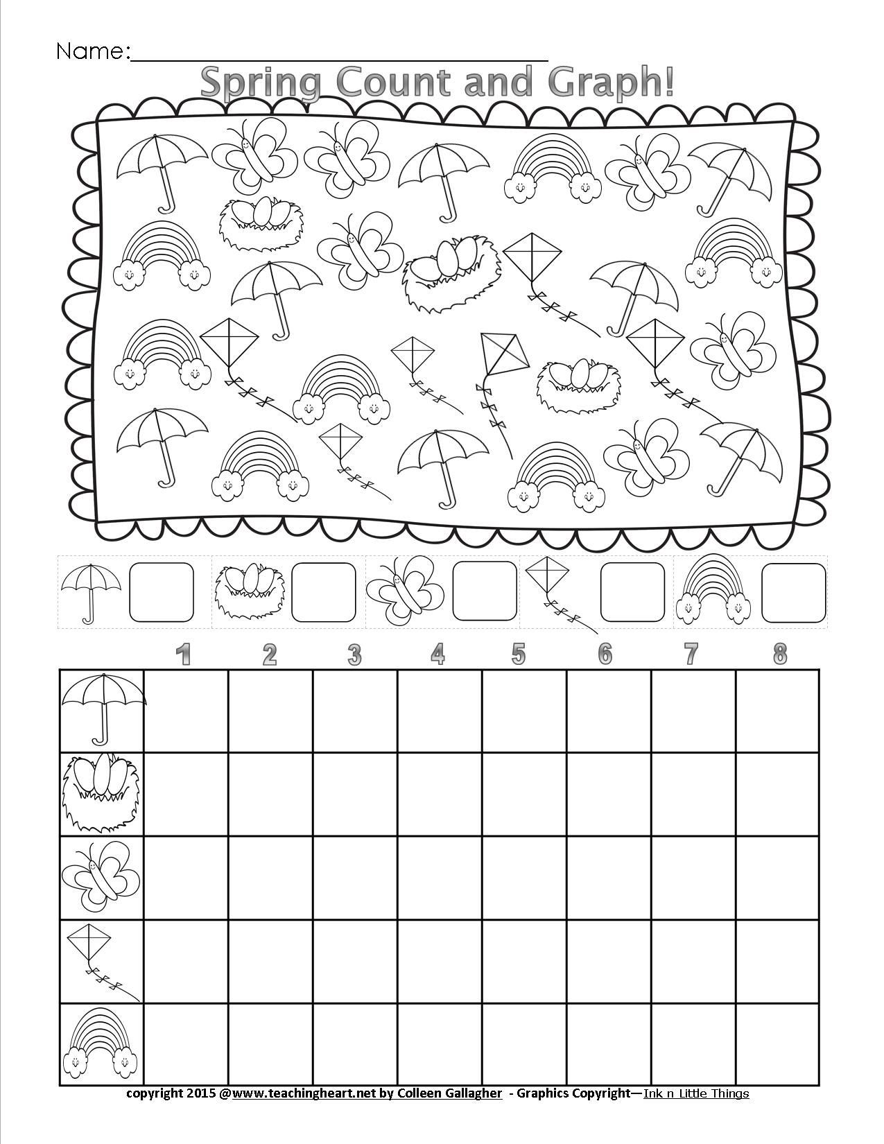 Graphing Worksheets for First Grade Spring Count and Graph Free Teaching Heart Blog