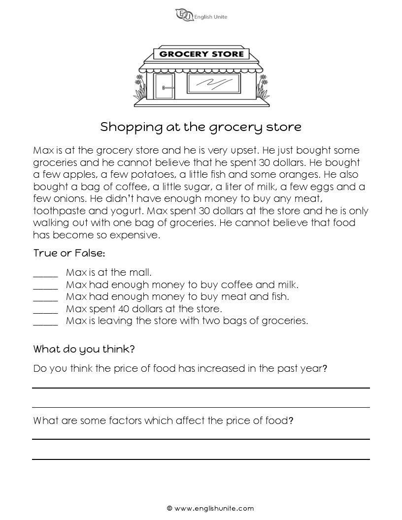 Grocery Shopping Math Worksheets Math Worksheet Printable Short Story for 1st Grade Test to