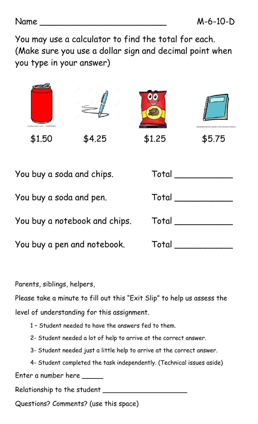 Grocery Shopping Math Worksheets Money Interactive Worksheet