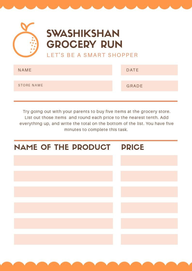 Grocery Shopping Math Worksheets Real Learning Grocery Run with Images