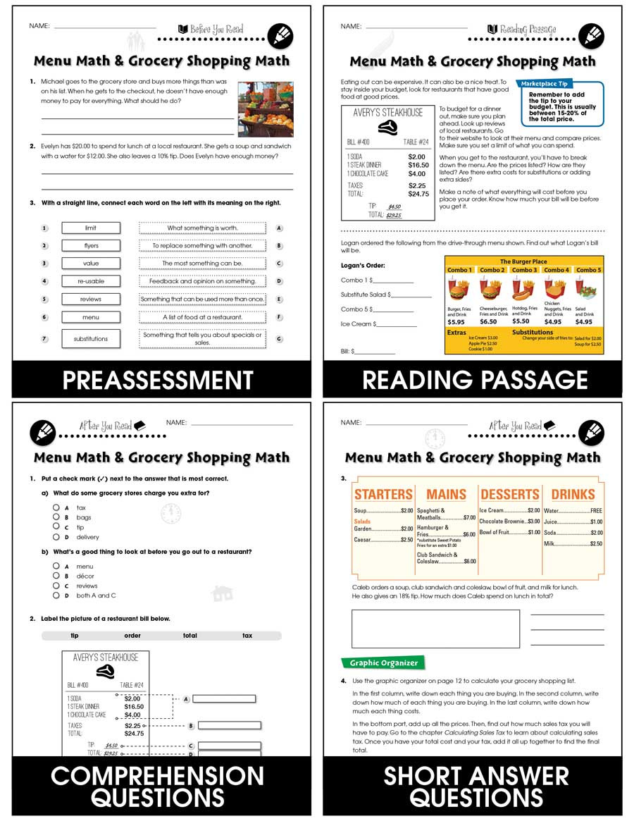 Grocery Store Math Worksheets Daily Marketplace Skills Menu Math and Grocery Shopping