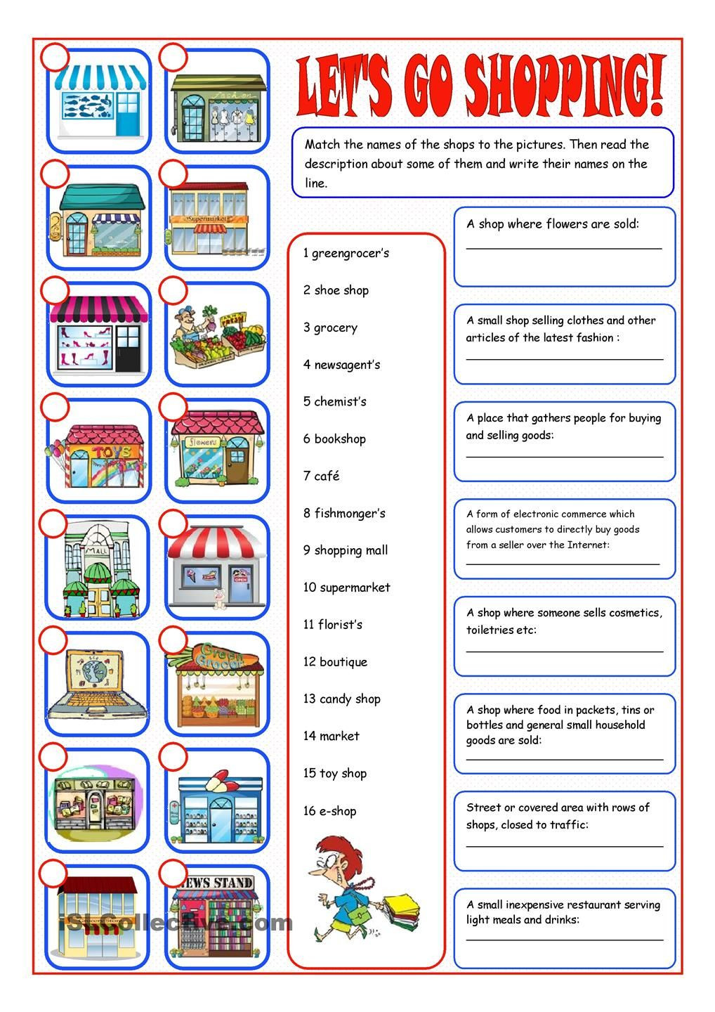 Grocery Store Math Worksheets Shopping Reading&matching