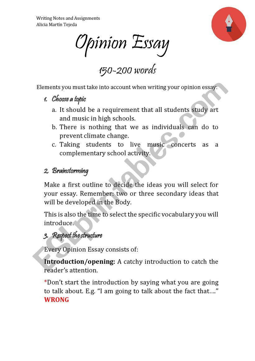 High School Essay Writing Worksheets Opinion Essay Guidelines and Exercise Esl Worksheet by