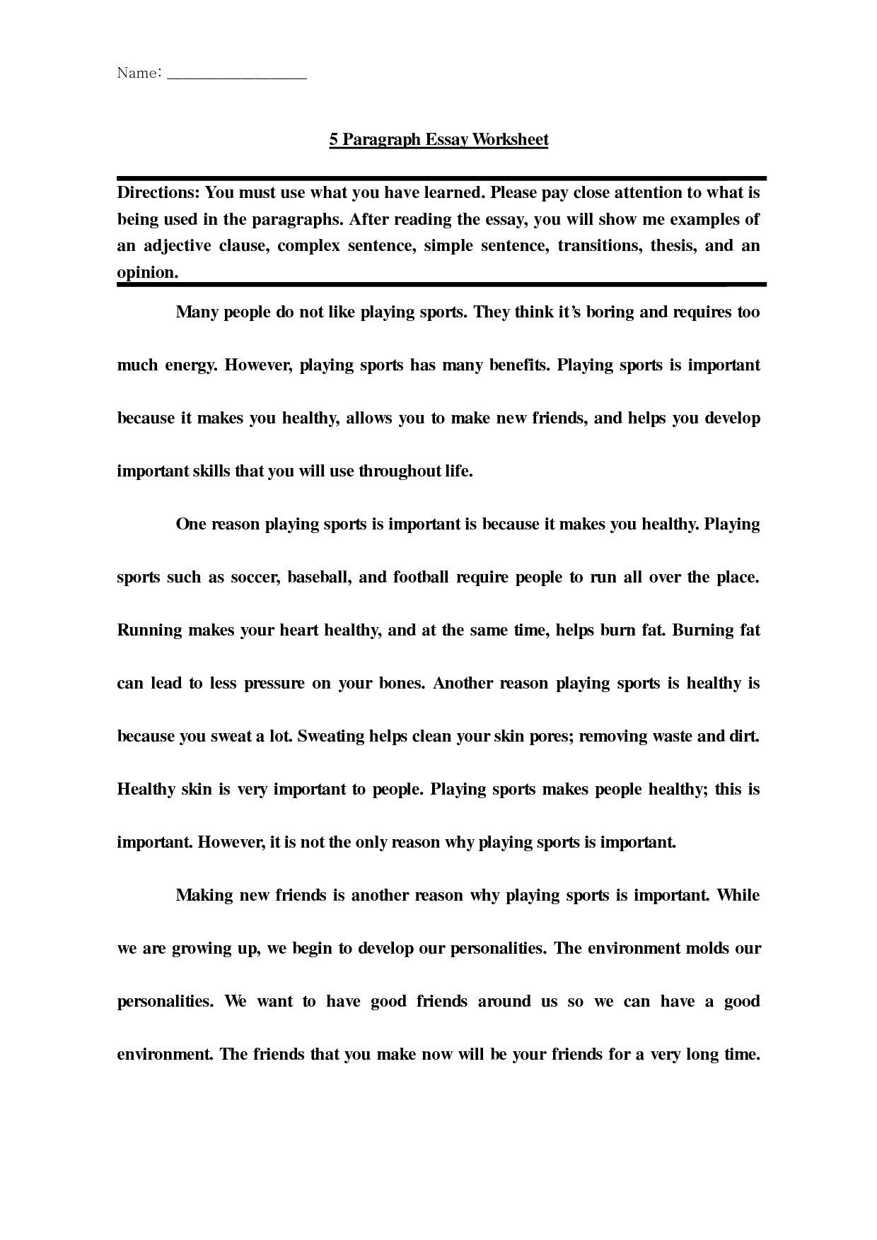 High School Essay Writing Worksheets Post Introduction Paragraph Worksheet