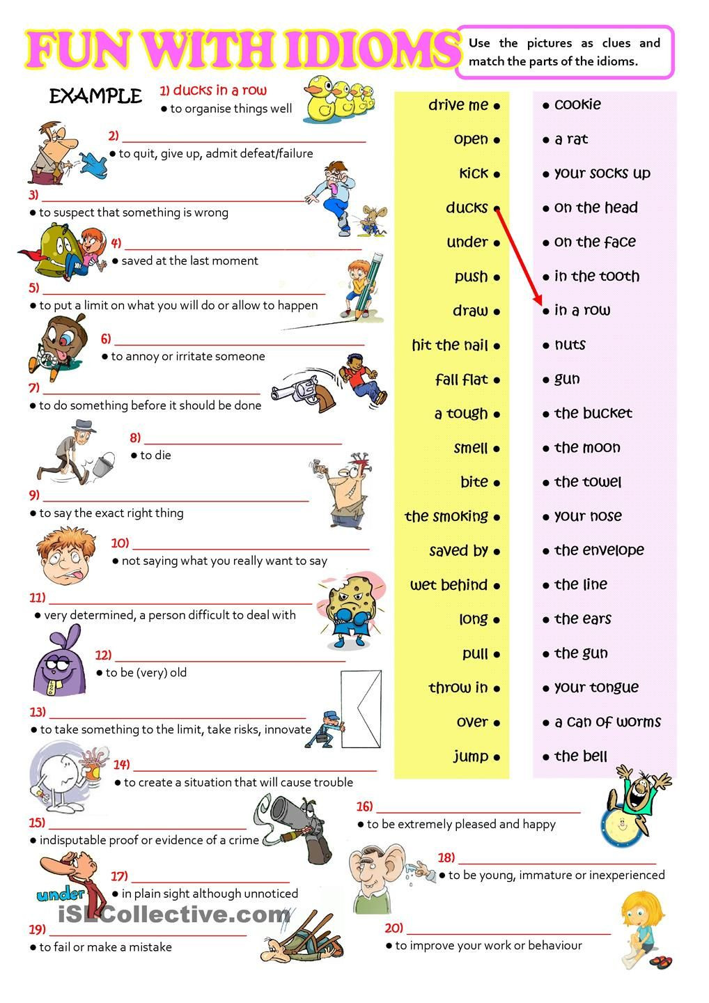 Idiom Worksheets for 2nd Grade Fun with Idioms