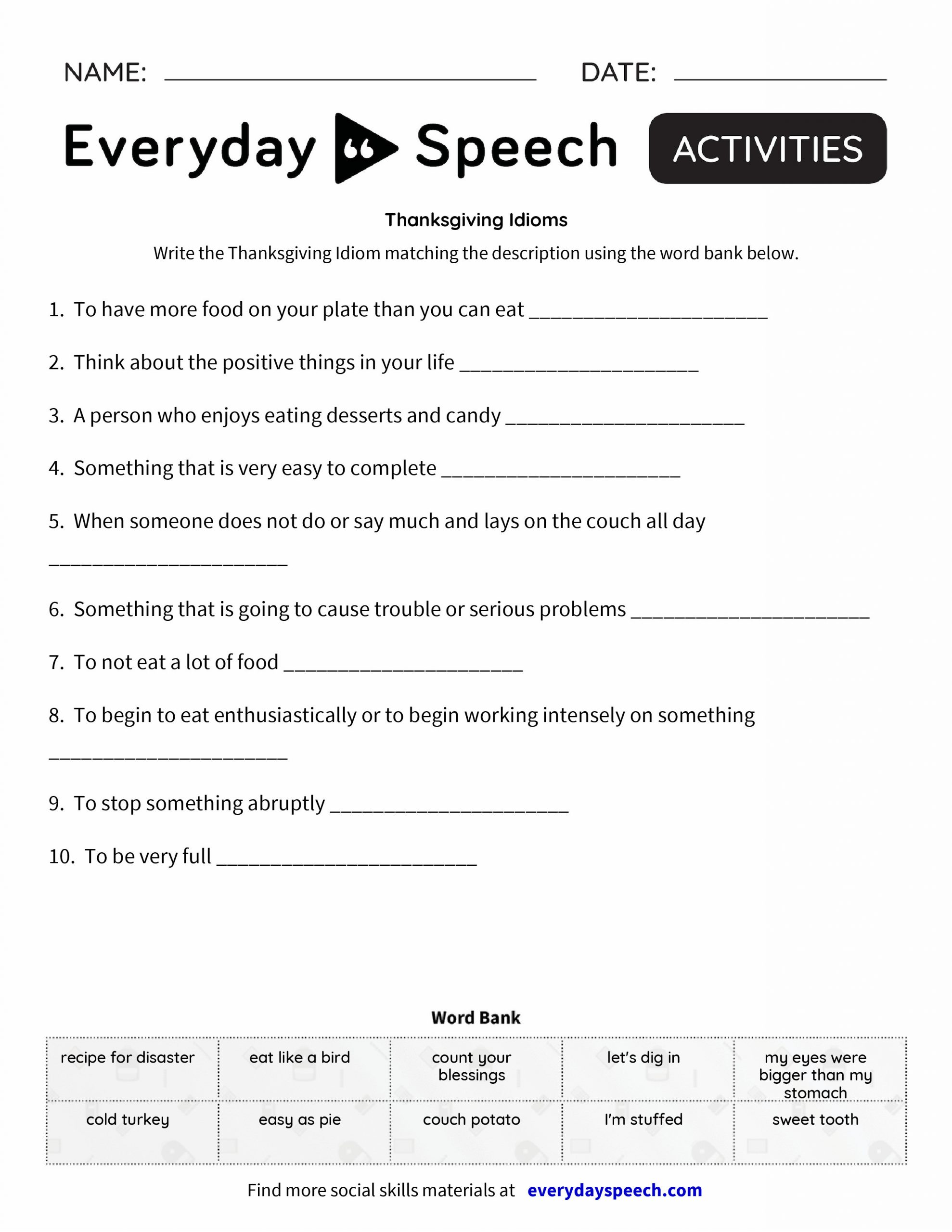 Idiom Worksheets for 2nd Grade Idiom Practice Worksheets