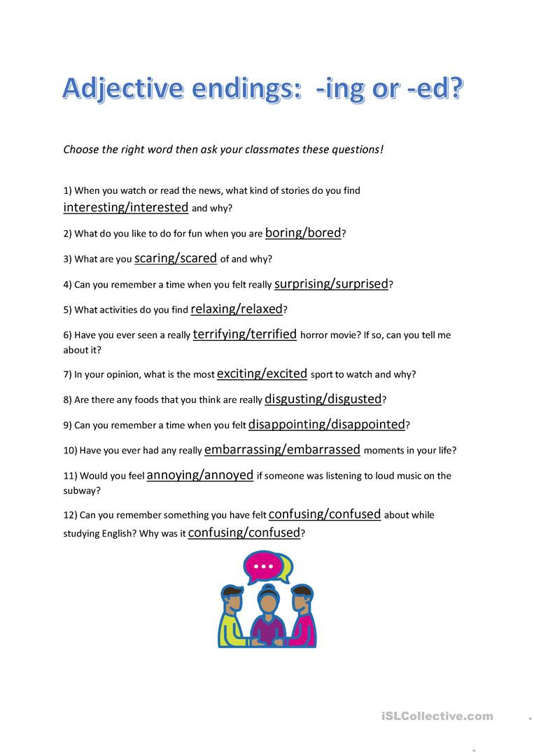 Ing Worksheets Grade 1 Adjective Endings Ed or Ing Conversation Questions
