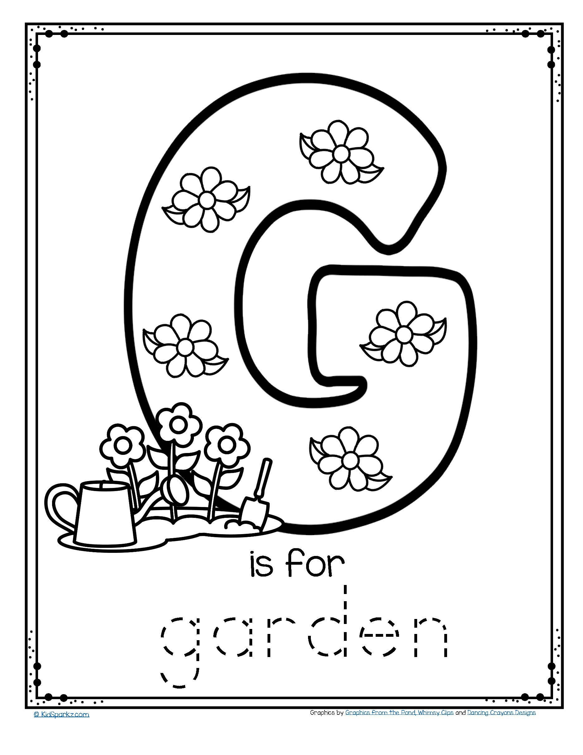 Letter G Tracing Worksheets Preschool Free G is for Garden Trace and Color Fine Motor Printable