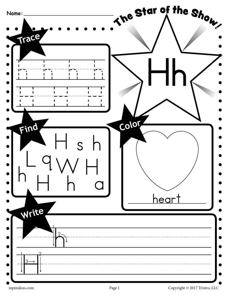 Letter H Tracing Worksheets Preschool Letter H Worksheet Tracing Coloring Writing & More