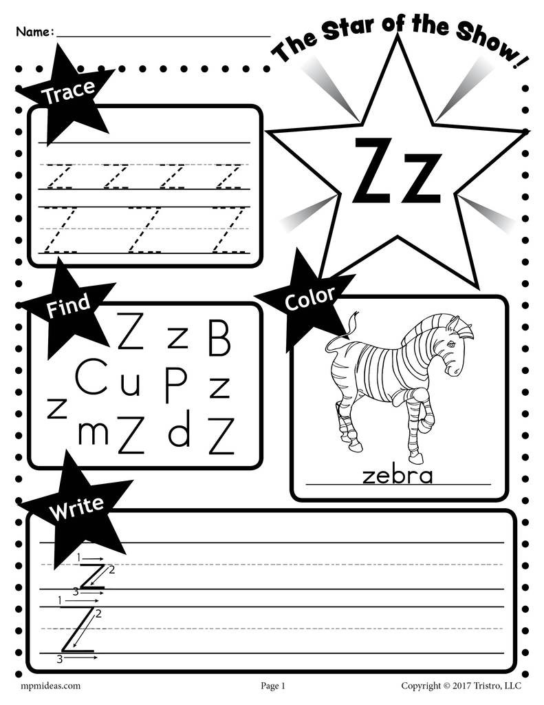 Letter H Tracing Worksheets Preschool Letter Z Worksheet Tracing Coloring Writing & More